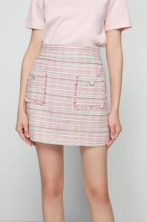High Waisted Tweed Mini Skirt