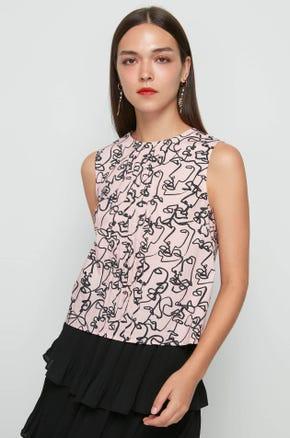 Sleeveless Face Print Blouse