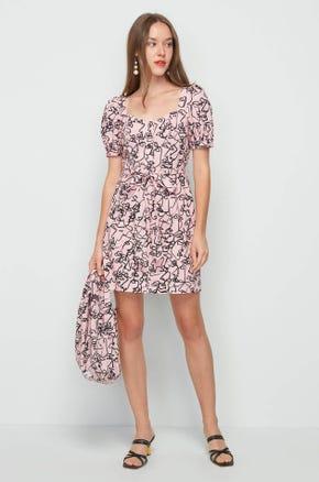 Face Print Mini Dress