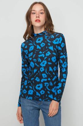 Blue Floral Mock Neck Top