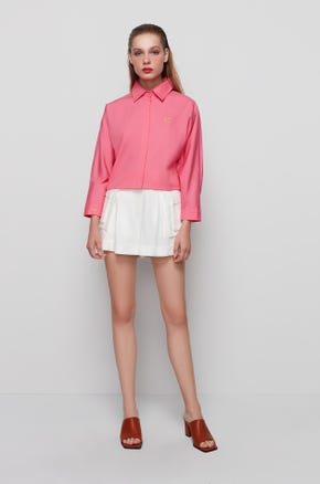 Pink Cropped Button Up Shirt