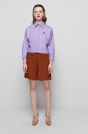 Purple Cropped Button Up Shirt