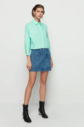 Green Cropped Button Up Shirt