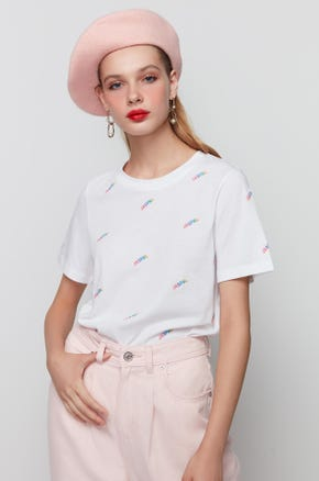 Embroidered Rainbow T-Shirt