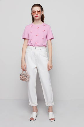 Embroidered Pink T-Shirt