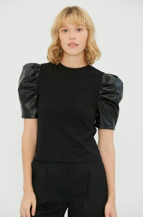 Faux Leather Sleeve T-Shirt