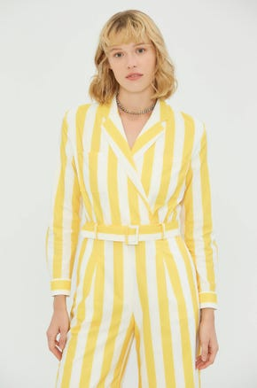 Yellow Striped Jumpsuit