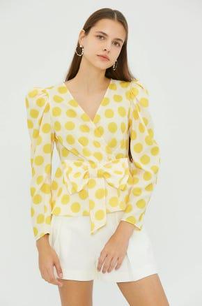 Yellow Dot Wrap Top