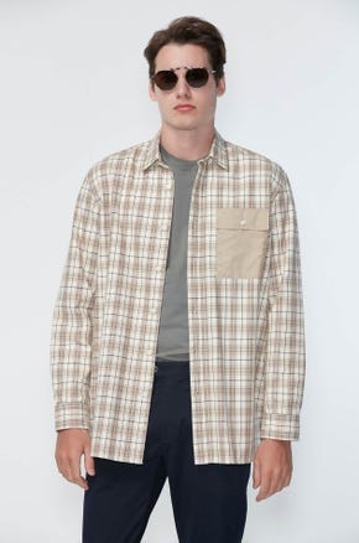 Checked Button Pocket Shirt