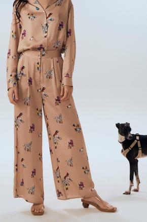 Dog Printed Wide Leg Pants