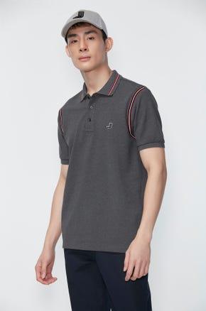 Shoulder Stripe Pique Polo Shirt