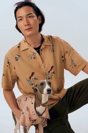 Dog Print Resort Shirt