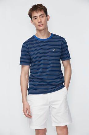 Contrast Collar Stripe T-shirt