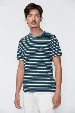 Green Contrast Stripe T-shirt