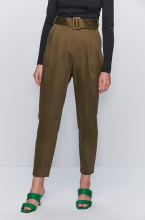 Belted Pleat Front Pants