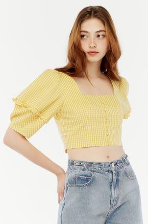 Yellow Gingham Crop Blouse