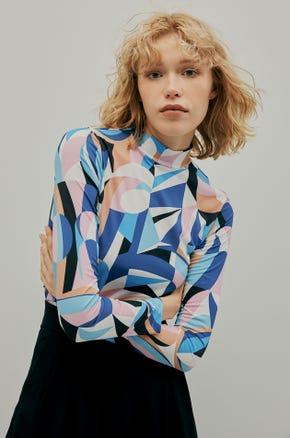 Geometric Mock Neck T-Shirt