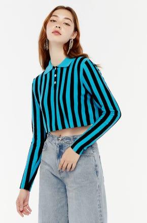 Blue Stripe Cropped Polo