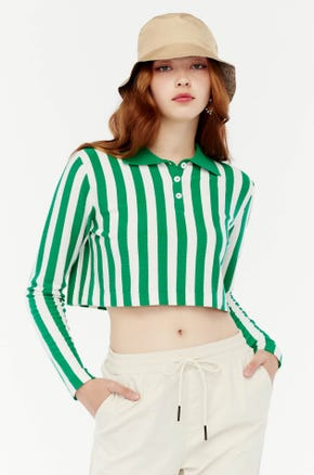 Green Stripe Cropped Polo