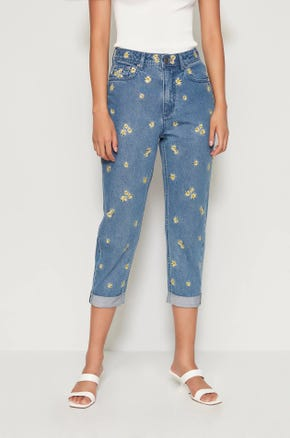 Daisy Cropped Mom Jeans