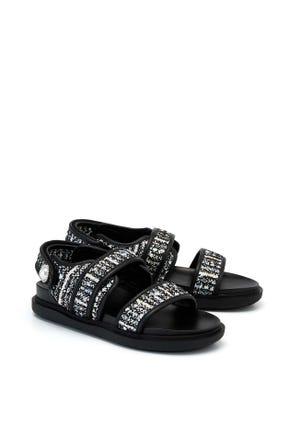 Tweed Strap Sandals