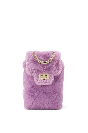 Quilted Faux Fur Tech Pouch