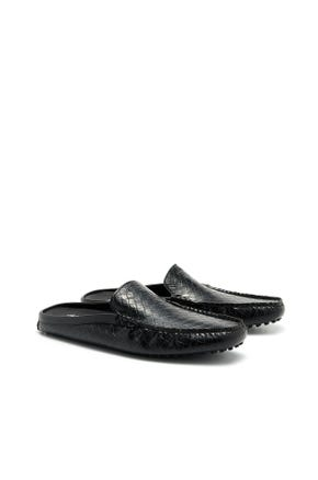 Backless Embossed Mule Loafers